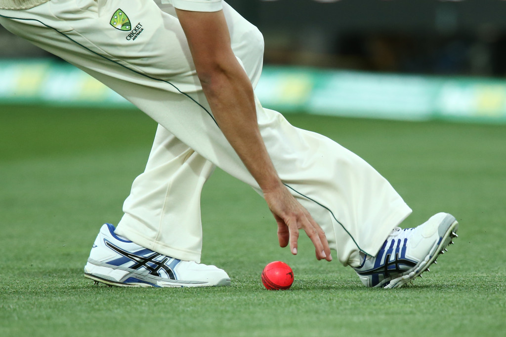 ADELAIDE, AUSTRALIA - NOVEMBER 24: A fielder picks up the pink cricket ball in the 65th over during day one of the Third Test match between Australia and South Africa at Adelaide Oval on November 24, 2016 in Adelaide, Australia. (Photo by Morne de Klerk/Getty Images)