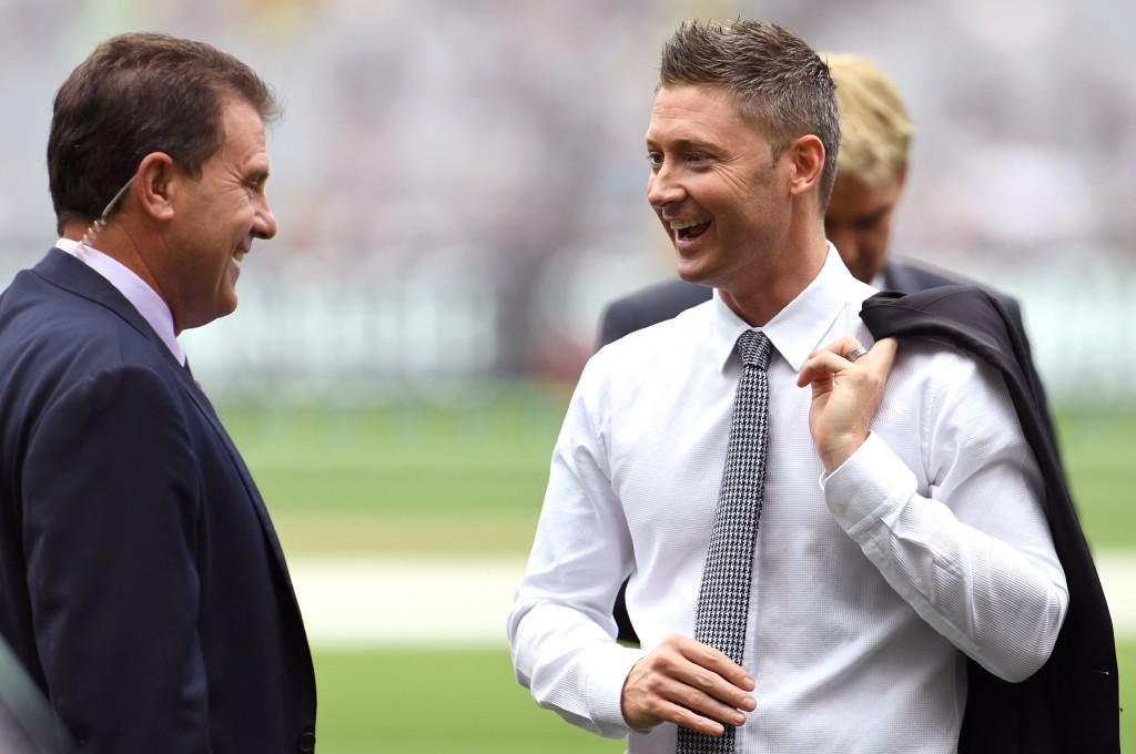 This photo taken on December 27, 2016 shows former Australian cricket captains and now Channel Nine cricket commentators Michael Clarke (R) and Mark Taylor (L) during the Boxing Day Test match between Australia and Pakistan at the MCG in Melbourne. / AFP / WILLIAM WEST / --IMAGE RESTRICTED TO EDITORIAL USE - STRICTLY NO COMMERCIAL USE-- (Photo credit should read WILLIAM WEST/AFP/Getty Images)
