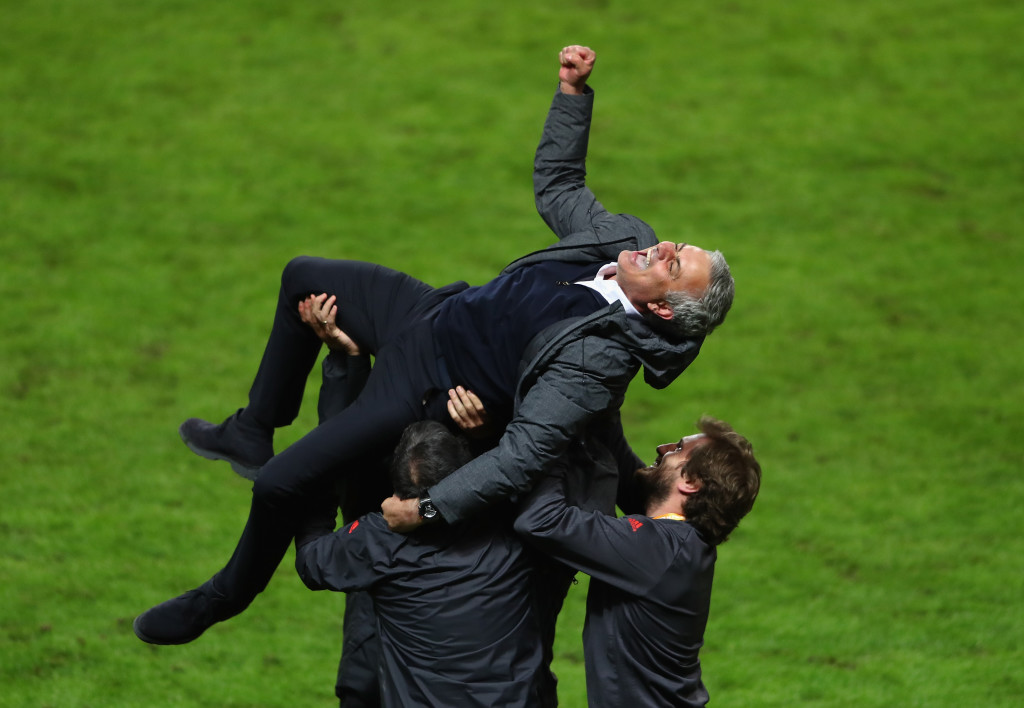 Jose Mourinho in buoyant mood after May's Europa League triumph.