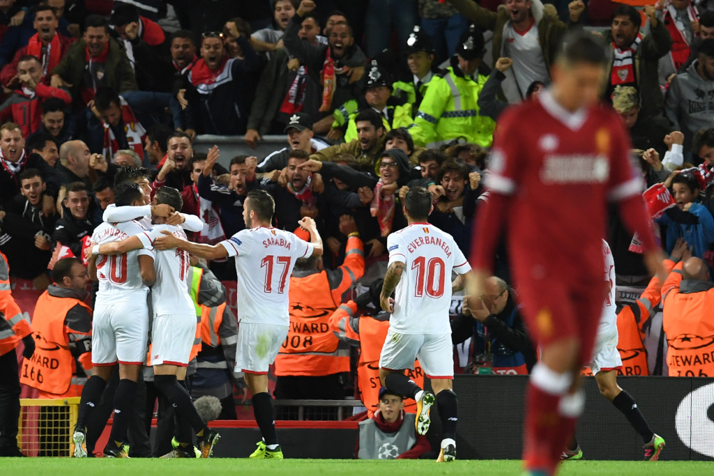 Sevilla's Argentinian midfielder Joaquin Correa celebrates with team-mates after scoring in September's 2-2 draw at Liverpool.