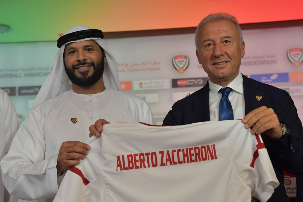 Alberto Zaccheroni (r) and Marwan bin Ghalita at the former's unveiling as UAE coach in October.