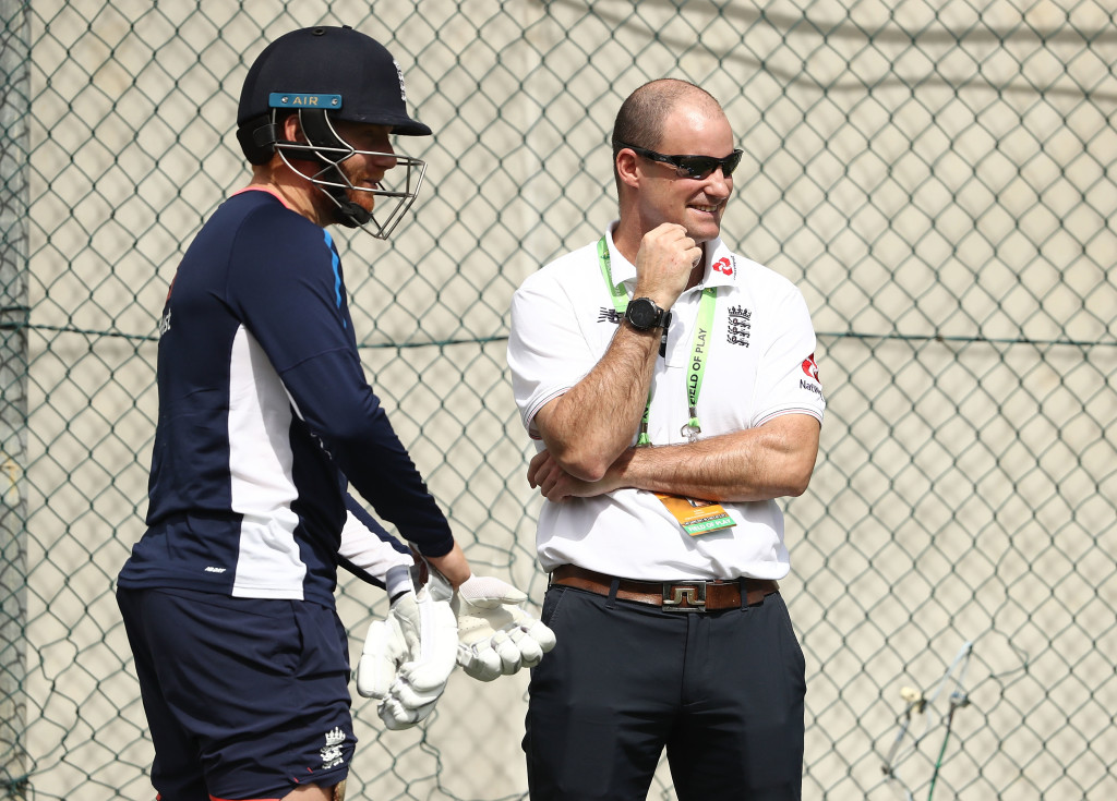 BRISBANE, AUSTRALIA - NOVEMBER 22: England Director of Cricket Andrew Strauss speaks with Jonny Bairstow of England during an England nets session at The Gabba on November 22, 2017 in Brisbane, Australia. (Photo by Ryan Pierse/Getty Images)