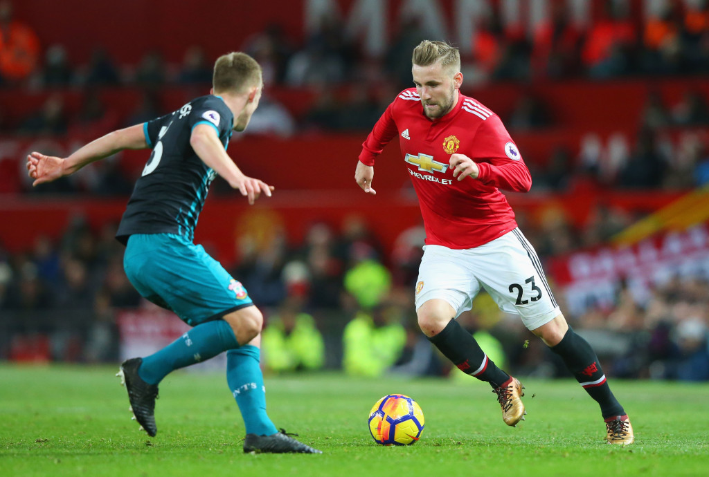 MANCHESTER, ENGLAND - DECEMBER 30: Luke Shaw of Manchester United is faced by James Ward-Prowse of Southampton during the Premier League match between Manchester United and Southampton at Old Trafford on December 30, 2017 in Manchester, England. (Photo by Alex Livesey/Getty Images)