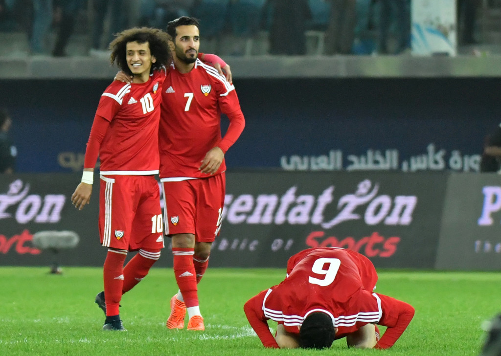 UAE's Omar Abdulrahman (l) and Ali Mabkhout (2nd l) at the Gulf Cup.