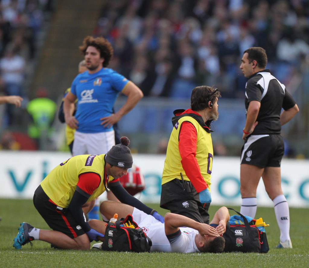 An injured Ben Youngs in Rome