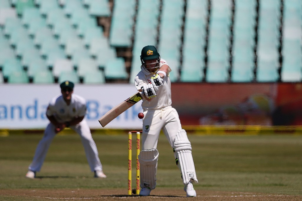 Australia's Steven Smith plays a shot during day one of the first Sunfoil Test between South Africa and Australia at Kingsmead Stadium in Durban on March 1, 2018. / AFP PHOTO / MARCO LONGARI (Photo credit should read MARCO LONGARI/AFP/Getty Images)