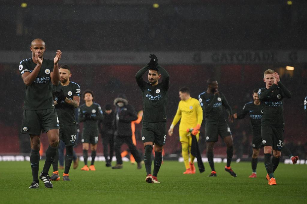 City are just five wins away from the title after beating Arsenal 3-0.