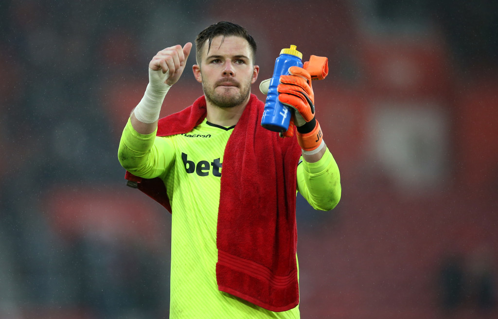 SOUTHAMPTON, ENGLAND - MARCH 03: Jack Butland of Stoke City shows appreciation to the fans after the Premier League match between Southampton and Stoke City at St Mary's Stadium on March 3, 2018 in Southampton, England. (Photo by Steve Bardens/Getty Images)