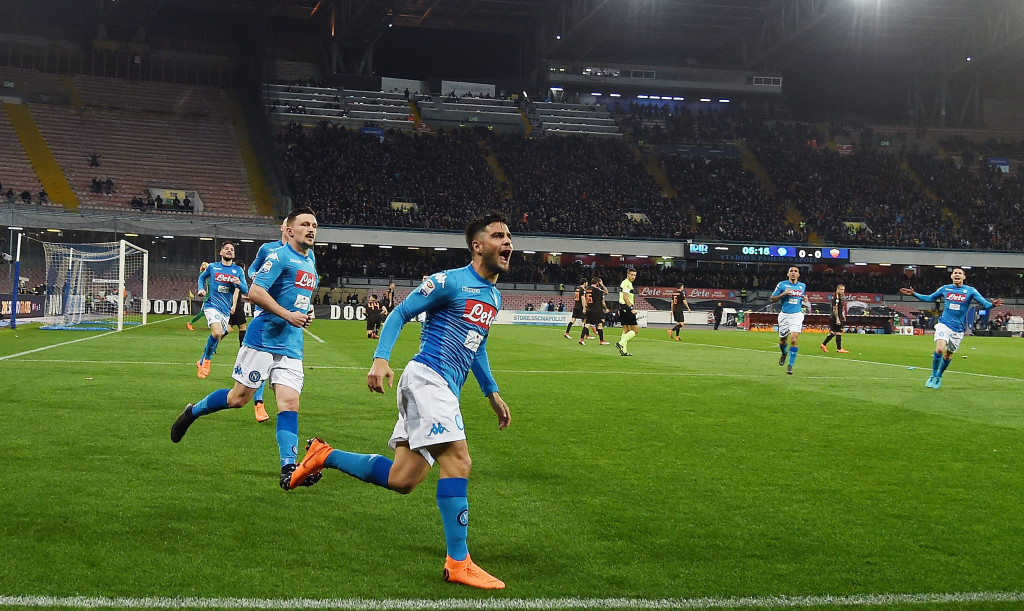Lorenzo Insigne after scoring for Napoli in the 4-2 defeat to Roma.