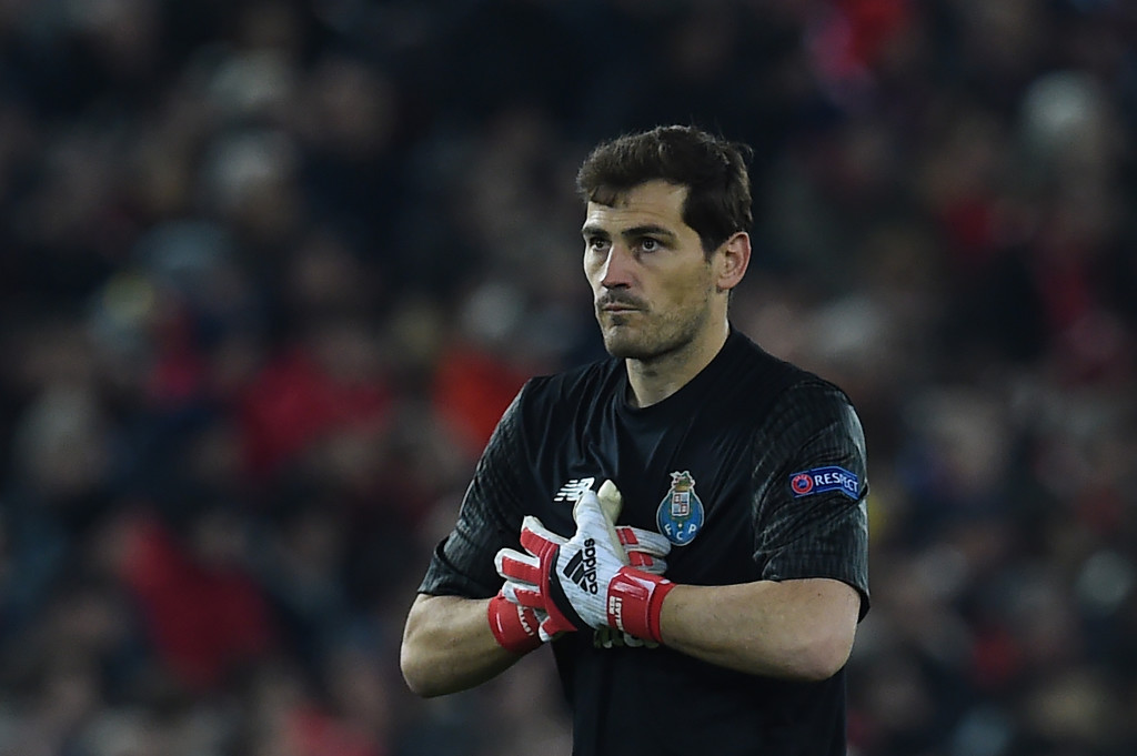 Porto's Spanish goalkeeper Iker Casillas gestures during the UEFA Champions League round of sixteen second leg football match between Liverpool and FC Porto at Anfield in Liverpool, north-west England on March 6, 2018. / AFP PHOTO / PAUL ELLIS (Photo credit should read PAUL ELLIS/AFP/Getty Images)