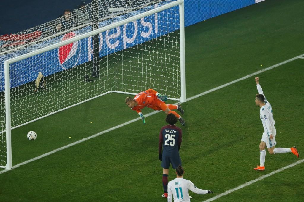 Cristiano Ronaldo celebrates Real Madrid's second goal.