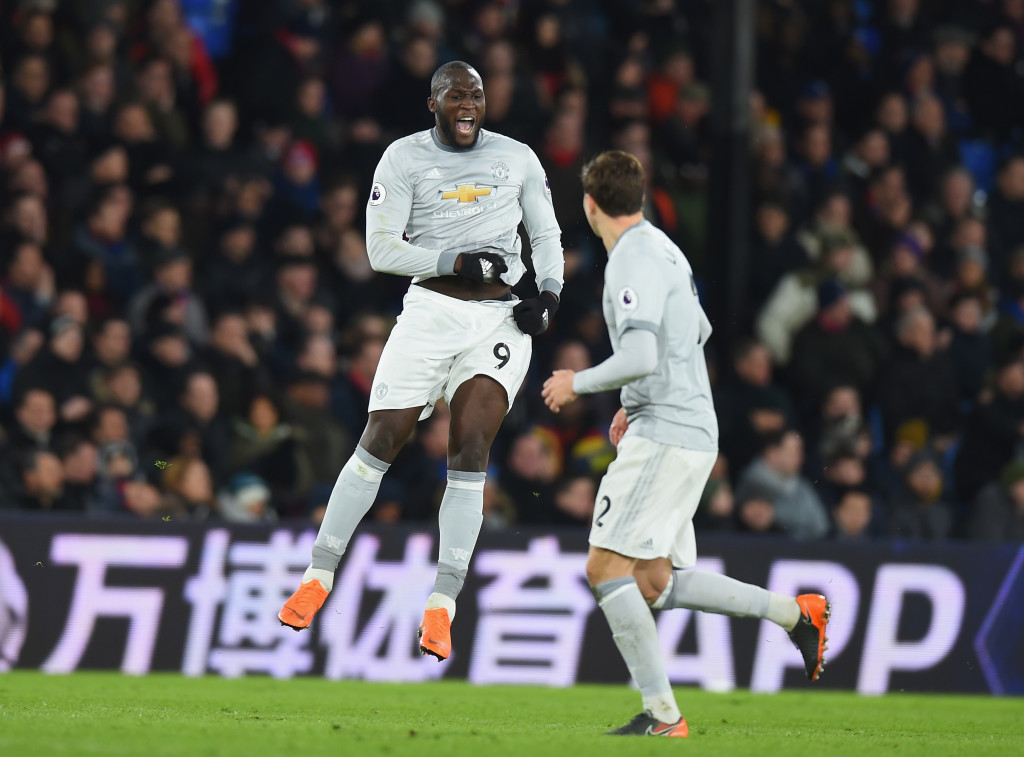 Romelu Lukaku of Manchester United celebrates scoring at Crystal Palace.