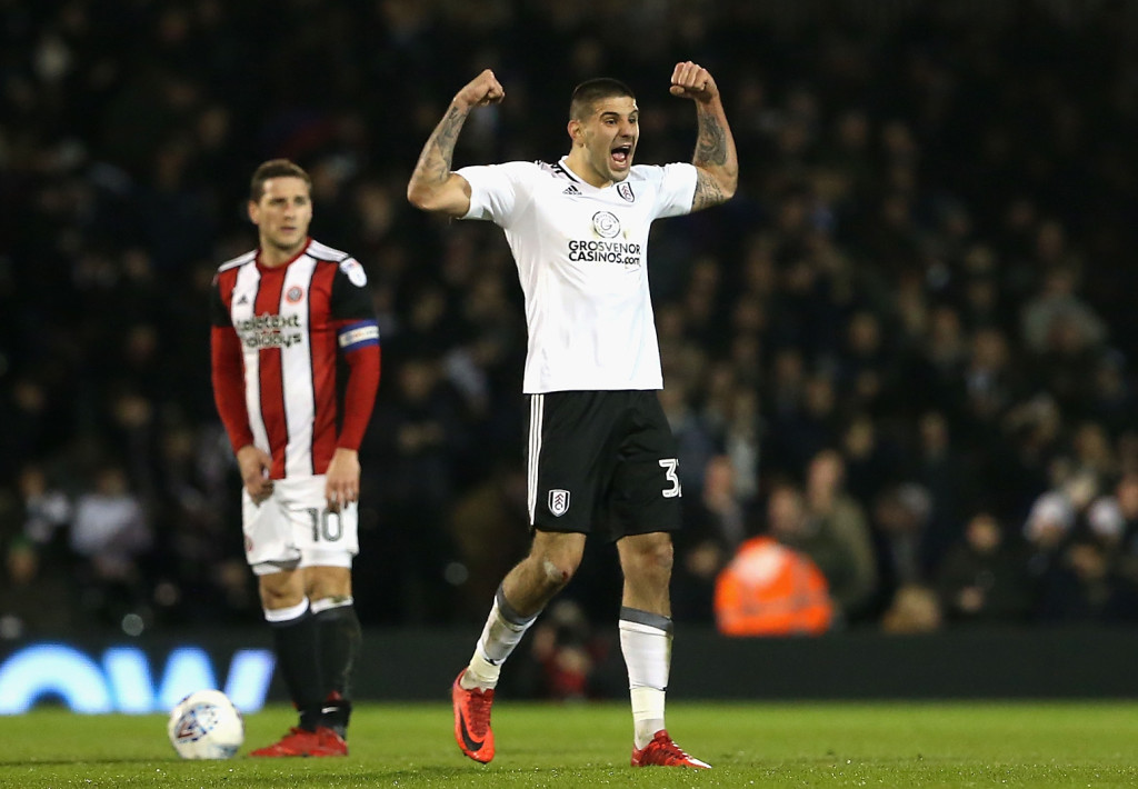 LONDON, ENGLAND - MARCH 06: Aleksandar Mitrovic of Fulham celebratres after scoring his sides first goal during the Sky Bet Championship match between Fulham and Sheffield United at Craven Cottage on March 6, 2018 in London, England. (Photo by Alex Pantling/Getty Images)
