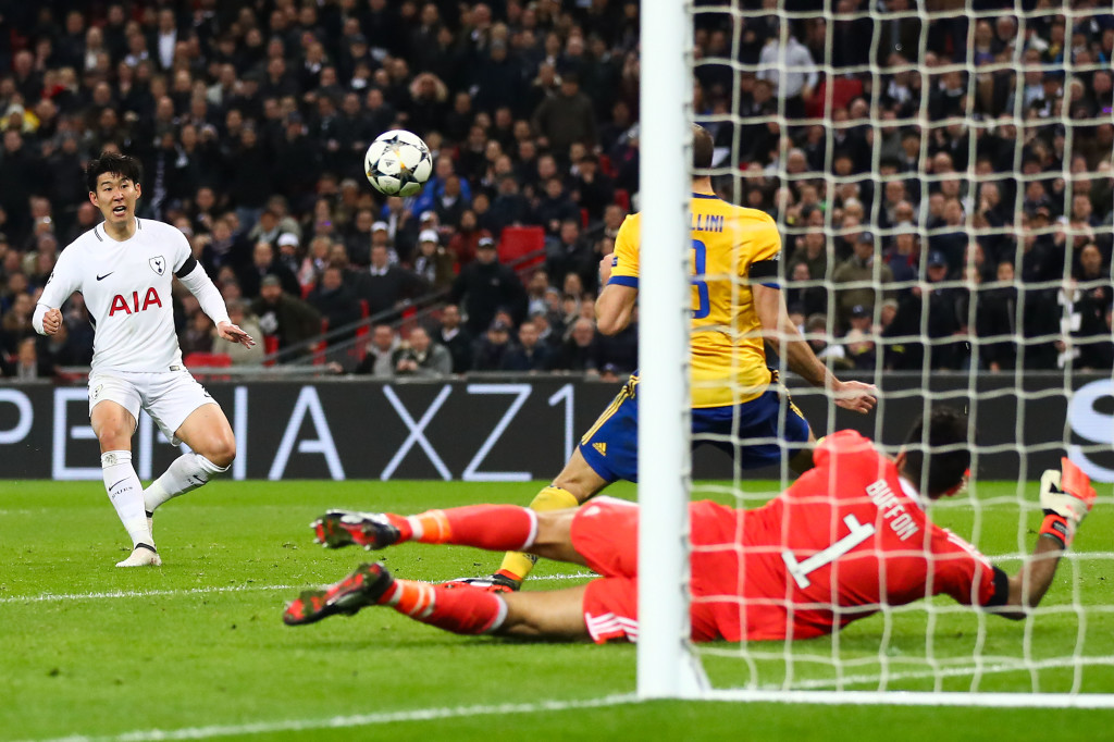 Son Heung-min of Tottenham Hotspur scores the opening goal.