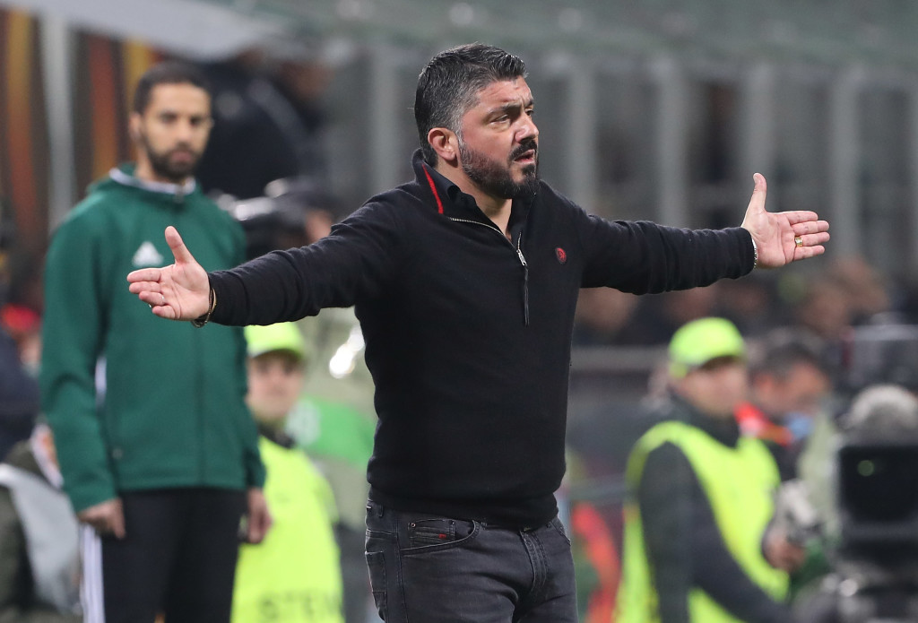 AC Milan head coach Gennaro Gattuso gestures during the loss to Arsenal.