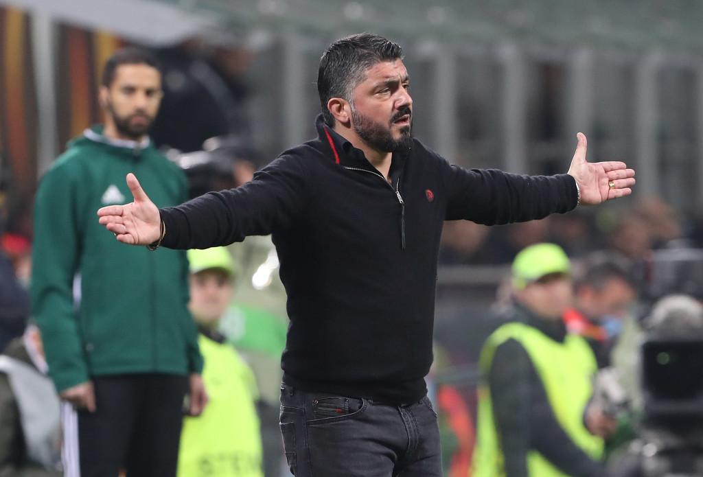 AC Milan head coach Gennaro Gattuso gestures during the loss to Arsenal.