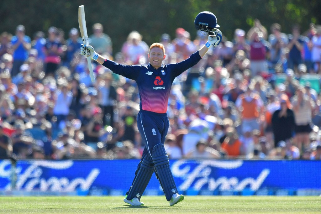 England's Jonny Bairstow celebrates 100 runs during the fifth and final ODI cricket match between New Zealand and England at Hagley Oval in Christchurch on March 10, 2018. / AFP PHOTO / Marty MELVILLE (Photo credit should read MARTY MELVILLE/AFP/Getty Images)