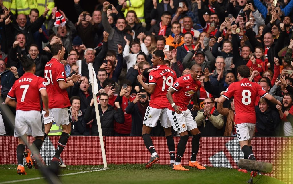 Manchester United celebrate the first goal