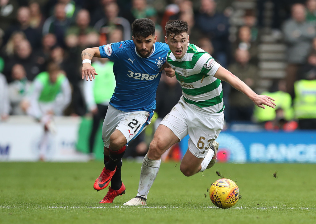 GLASGOW, SCOTLAND - MARCH 11: Candeias of Rangers vies with Kieran Tierney of Celtic during the Rangers v Celtic Ladbrokes Scottish Premiership match at Ibrox Stadium on March 11, 2018 in Glasgow, Scotland. (Photo by Ian MacNicol/Getty Images)