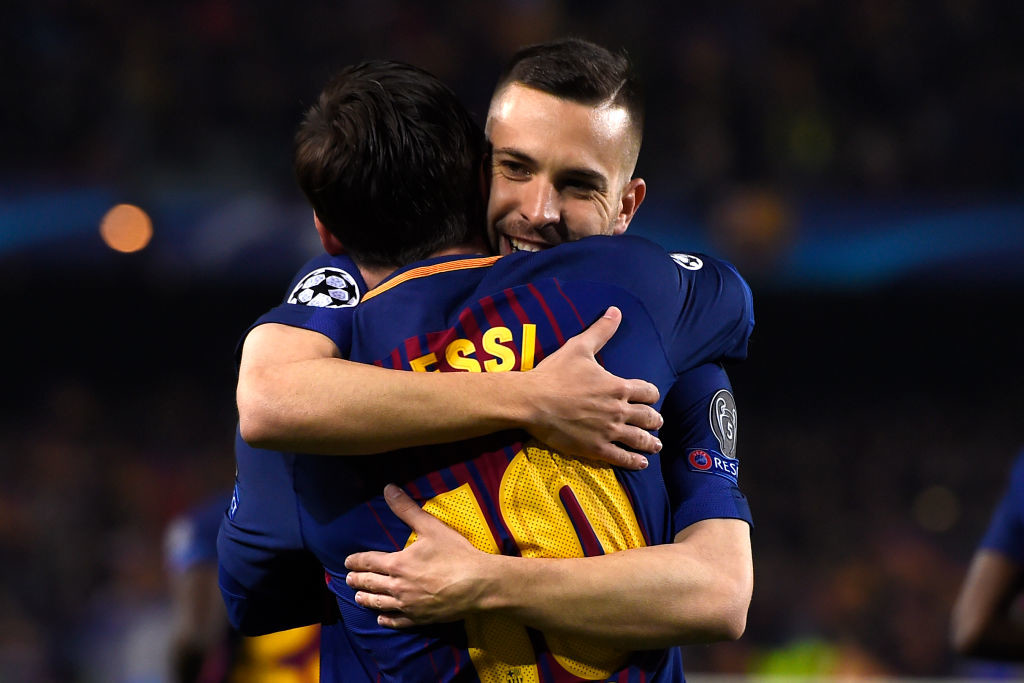 Thanks again: Lionel Messi and Jordi Alba celebrate