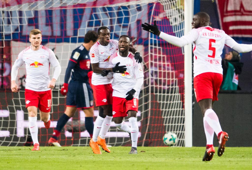 Naby Keita celebrates scoring for Leipzig