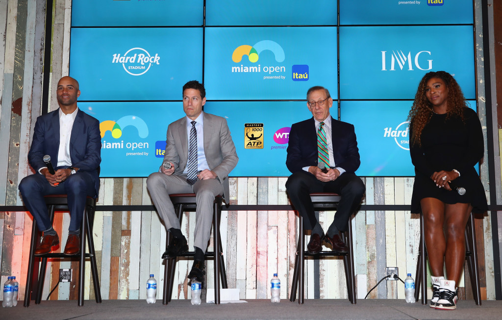 KEY BISCAYNE, FL - MARCH 19: L-R James Blake,Tournament Director, Mark Sharpiro WME/IMG Co-President, Stephen Ross, Miami Dolphins owner and Serena Williams at a press conference prior ro the ground breaking at the future home of the Miami Open begining in 2019 at Hard Rock stadium prior to this years Miami Open Presented by Itau at Crandon Park Tennis Center on March 19, 2018 in Key Biscayne, Florida. (Photo by Clive Brunskill/Getty Images)
