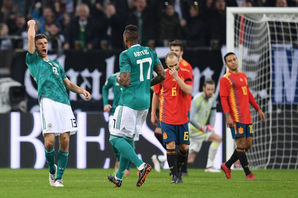 Mueller's strike helped Germany hold Spain in their friendly.