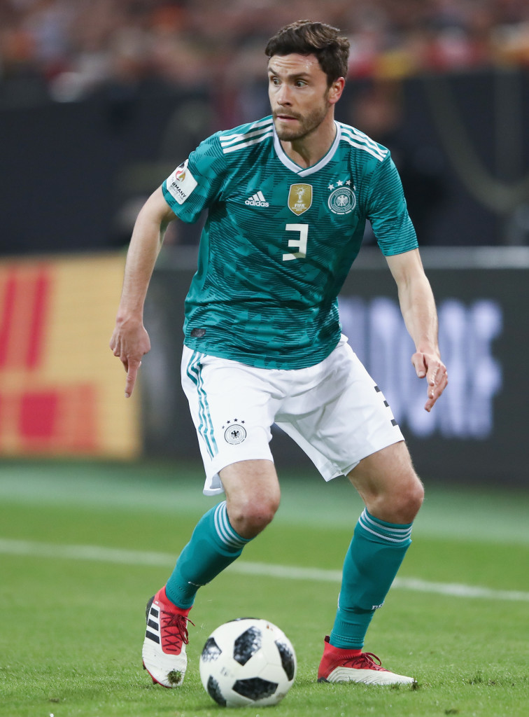 DUESSELDORF, GERMANY - MARCH 23: Jonas Hector of Germany controls the ball during the international friendly match between Germany and Spain at Esprit-Arena on March 23, 2018 in Duesseldorf, Germany. (Photo by Alex Grimm/Bongarts/Getty Images)
