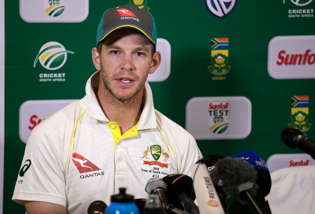 Australian Captain Tim Paine gives a press conference at the end of the third Test cricket match between South Africa and Australia won by South Africa at Newlands cricket ground on March 25, 2018 in Cape Town, South Africa. / AFP PHOTO / GIANLUIGI GUERCIA (Photo credit should read GIANLUIGI GUERCIA/AFP/Getty Images)