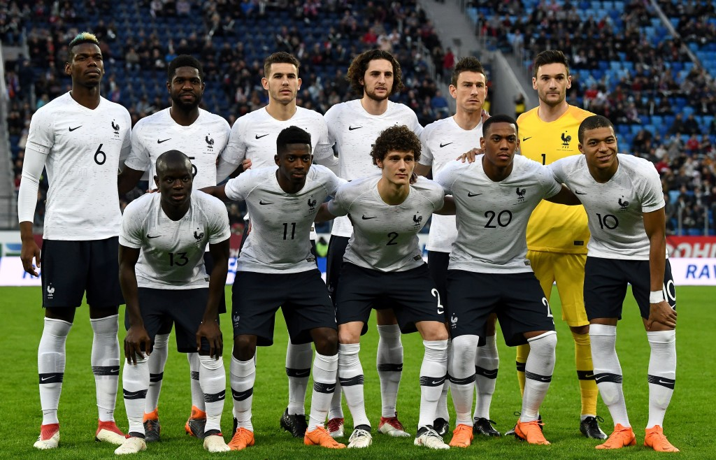 Ousmane Dembele (2nd l, bottom row) started his first game for France in more than a year against Russia.