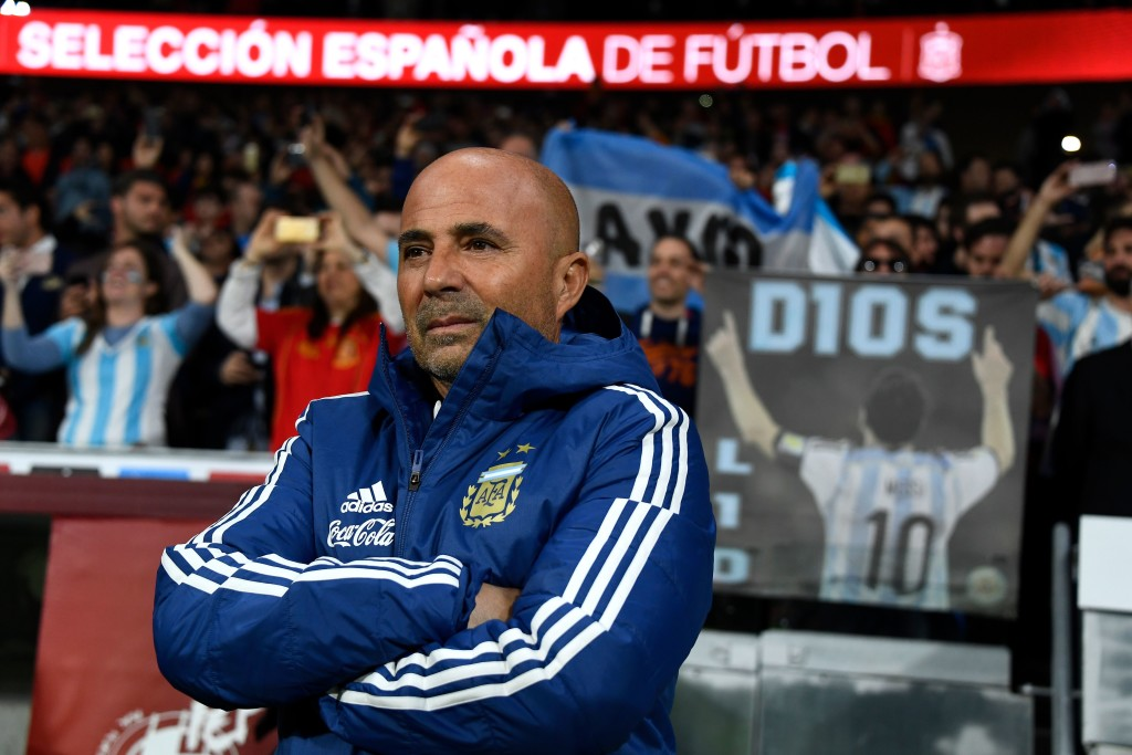 Argentina boss Jorge Sampaoli watches on against Spain