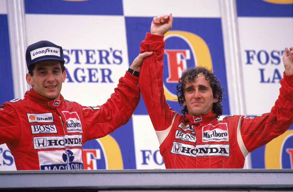 Alain Prost (l) and Ayrton Senna