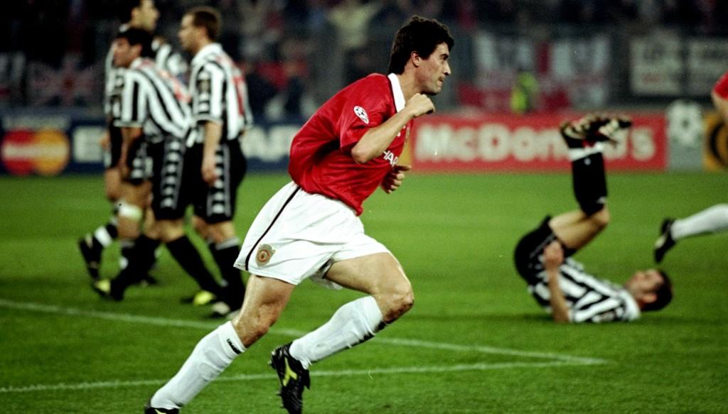A captain's goal: Roy Keane scores v Juve.
