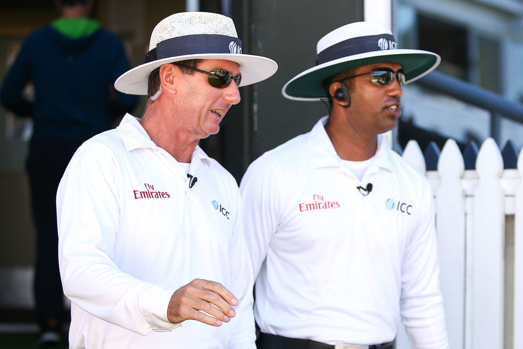 Kumar Dharmasena (r) should have acted quicker in Durban.