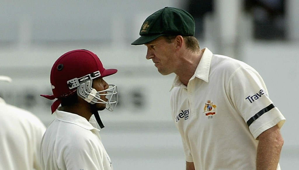 """Sarwan and McGrath crossed """"the line' back in 2003."""