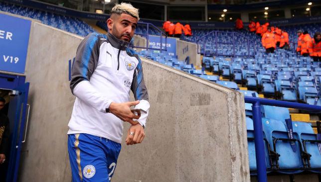 Riyad Mahrez of Leicester City arrives at the stadium