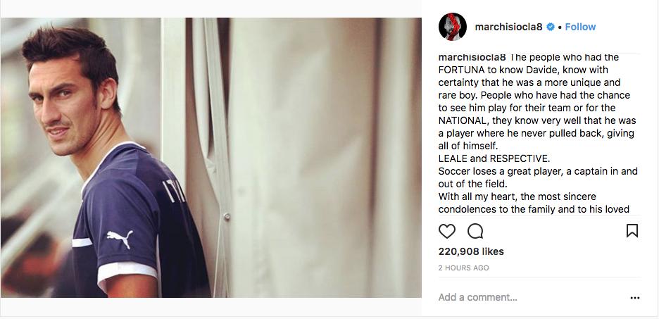 Claudio Marchisio posted his condolences on Instagram.