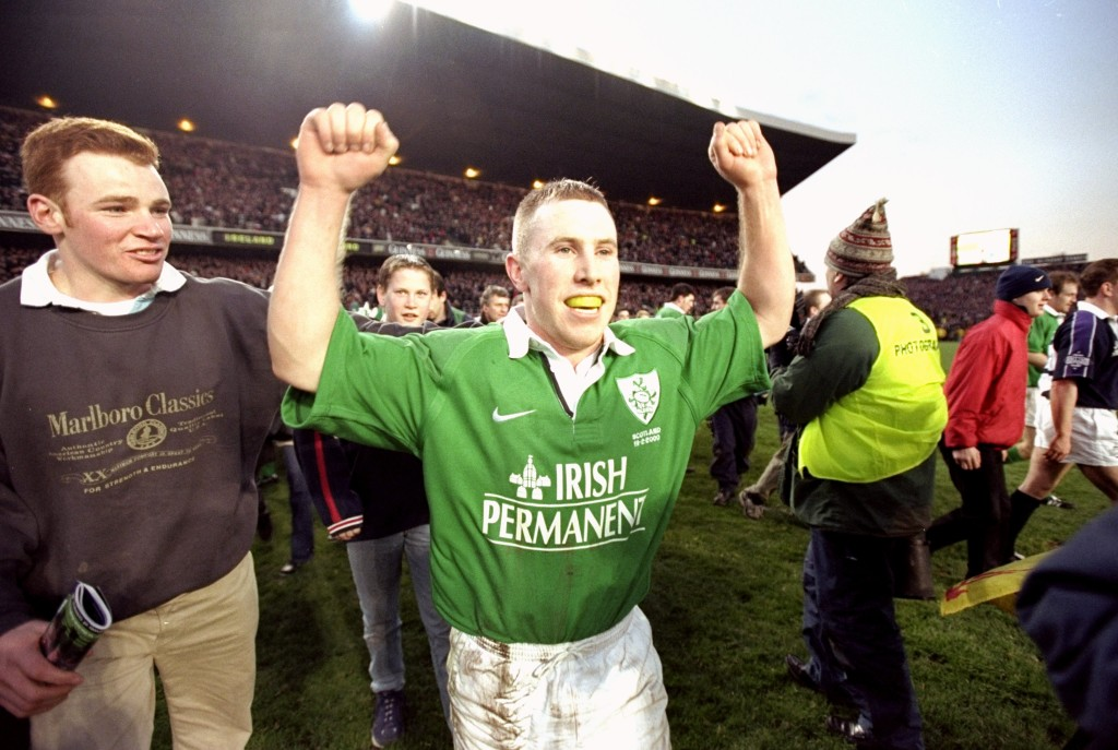 19 Feb 2000: Peter Stringer of Ireland celebrates victory over Scotland in the Six Nations Championship match at Lansdowne Road in Dublin, Ireland. Ireland won 44-22. Mandatory Credit: Ross Kinnaird /Allsport