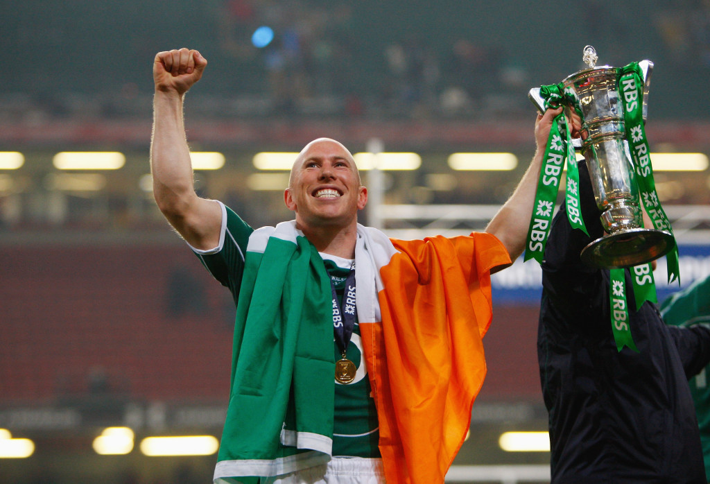 CARDIFF, UNITED KINGDOM - MARCH 21: Peter Stringer of Ireland celebrates winning the Grand Slam during the RBS 6 Nations Championship match between Wales and Ireland at the Millennium Stadium on March 21, 2009 in Cardiff, Wales. (Photo by Stu Forster/Getty Images)