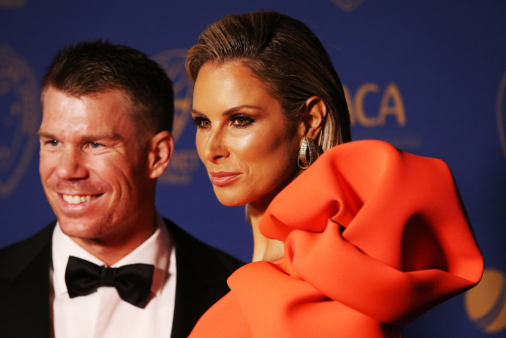 David Warner and his wife Candice Falzon.