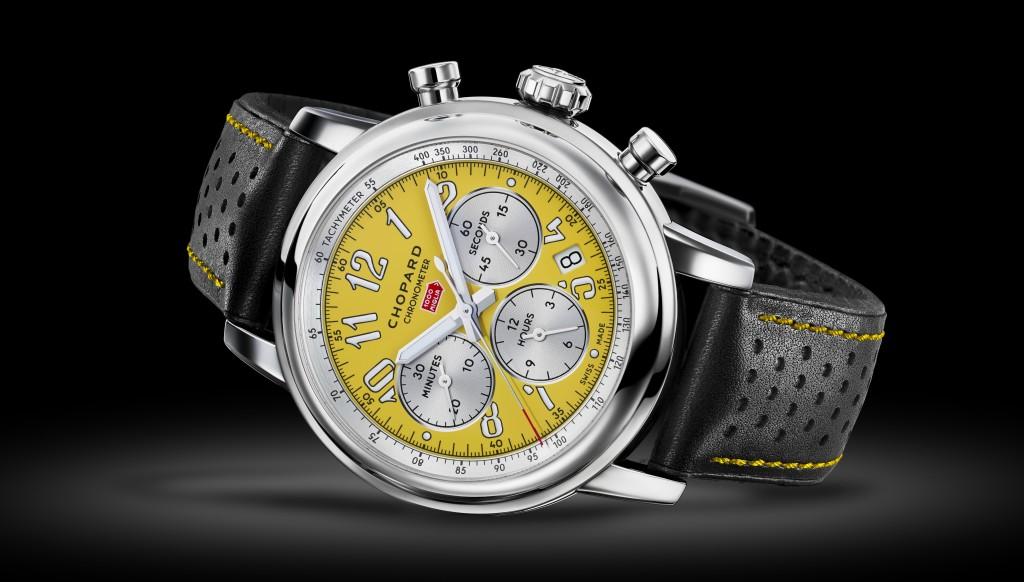 Striking: The yellow time piece
