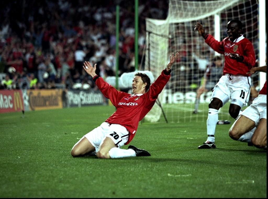 Solskjaer celebrates his memorable winner in 99.