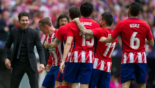 Antoine Greizmann of Atletico de Madrid celebrates