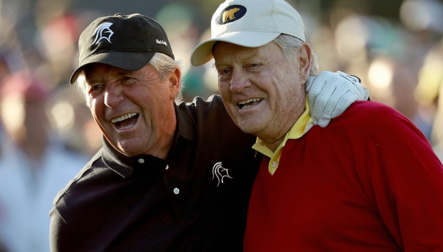 Player (left) and Nicklaus hit Thursday's ceremonial tee shots