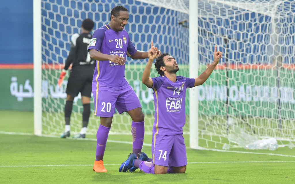 Egypt forward Hussein El Shahat celebrates against Fujairah (UAE FA).