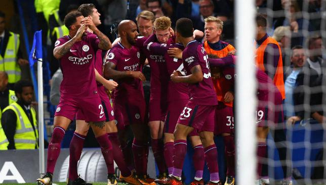 De Bruyne of Manchester City celebrates