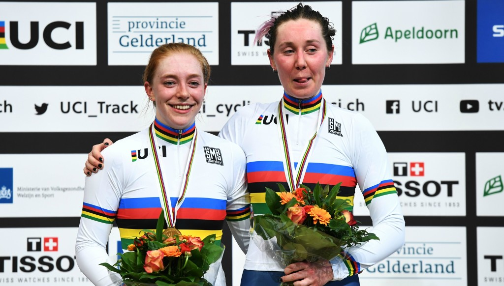 Emily Nelson (r) with Katie Archibald after winning the women's madison at the UCI Track Cycling World Championships.