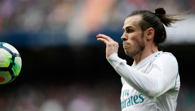Gareth Bale eyes the ball