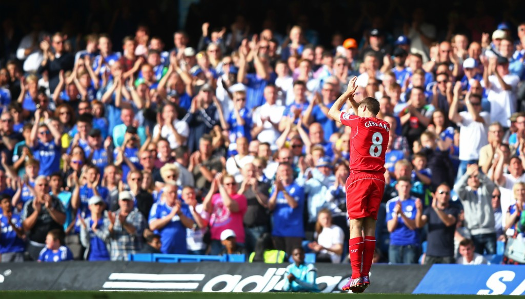 Steven Gerrard receives a standing ovation from Chelsea fans during his last season at Liverpool.