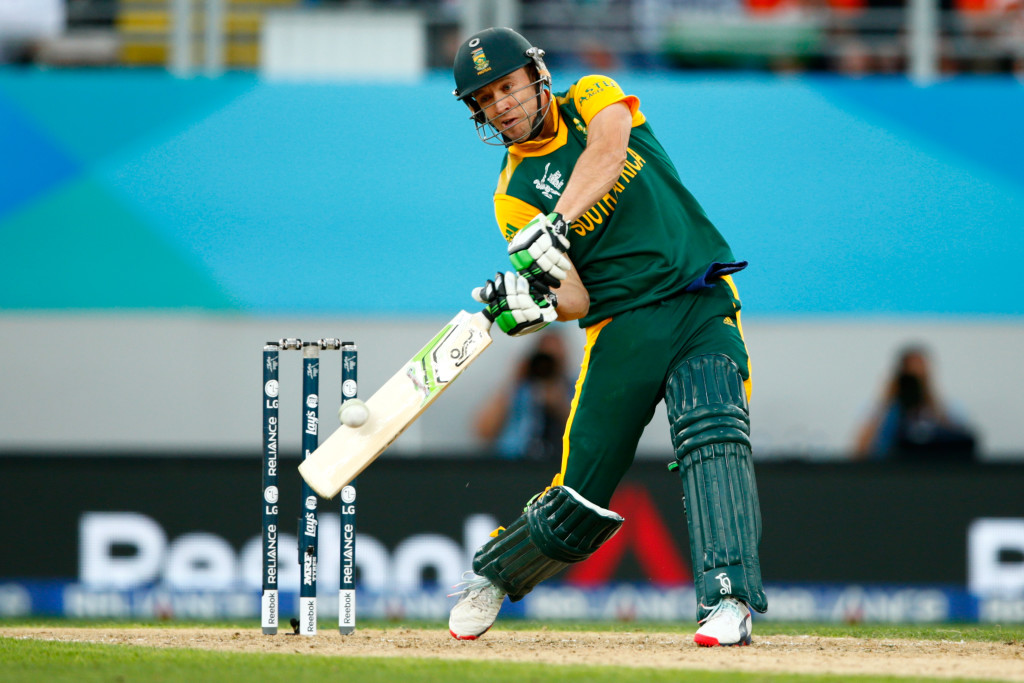 AUCKLAND, NEW ZEALAND - MARCH 24: AB de Villiers of South Africa bats during the 2015 Cricket World Cup Semi Final match between New Zealand and South Africa at Eden Park on March 24, 2015 in Auckland, New Zealand. (Photo by Phil Walter/Getty Images)